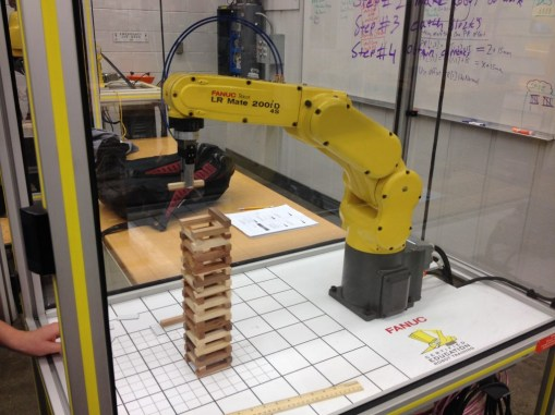 robot placing a jenga part
