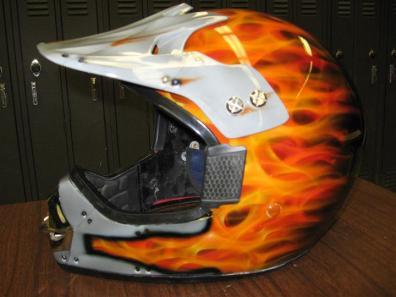 orange flames on helmet