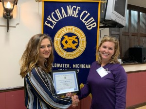 Alexia and Exchange Club member Jennifer Poe