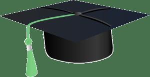 graduation cap with green tassle