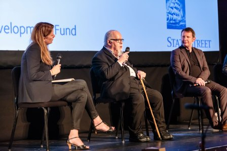 Sir Peter Blake and Saint Etienne's Bob Stanley at the Branchage 2014 Opening Night Q&A with host Hannah Paterson