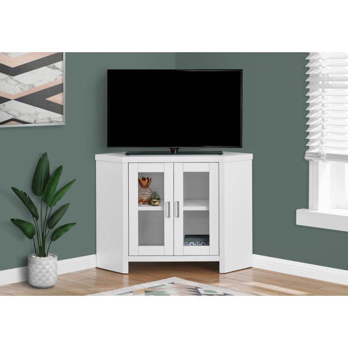 meuble tv 42 l en coin blanc et portes vitres monarch i 2703