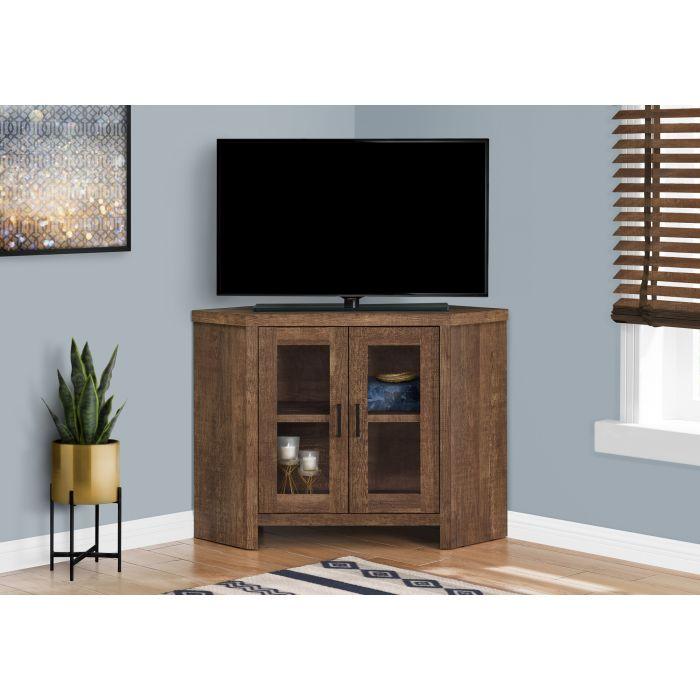 meuble tv 42 l en coin faux bois brun monarch i 2707