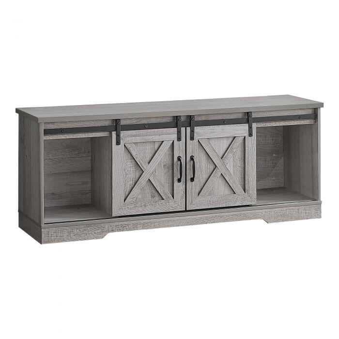 meuble tv 60 l gris avec 2 portes coulissantes monarch i 2747