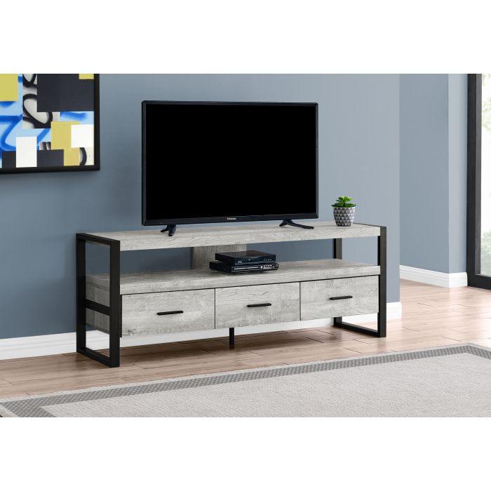 meuble tv 60 l faux bois gris 3 tiroirs monarch i 2821