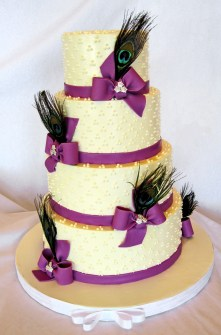 purple peacock cake