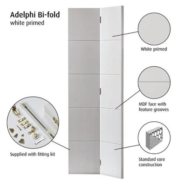 JB Kind White Primed Adelphi Bi-fold Door