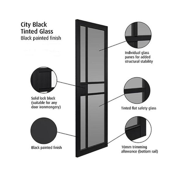 JB Kind Internal City Black Tinted Glass Door 1981 x 762 x ...