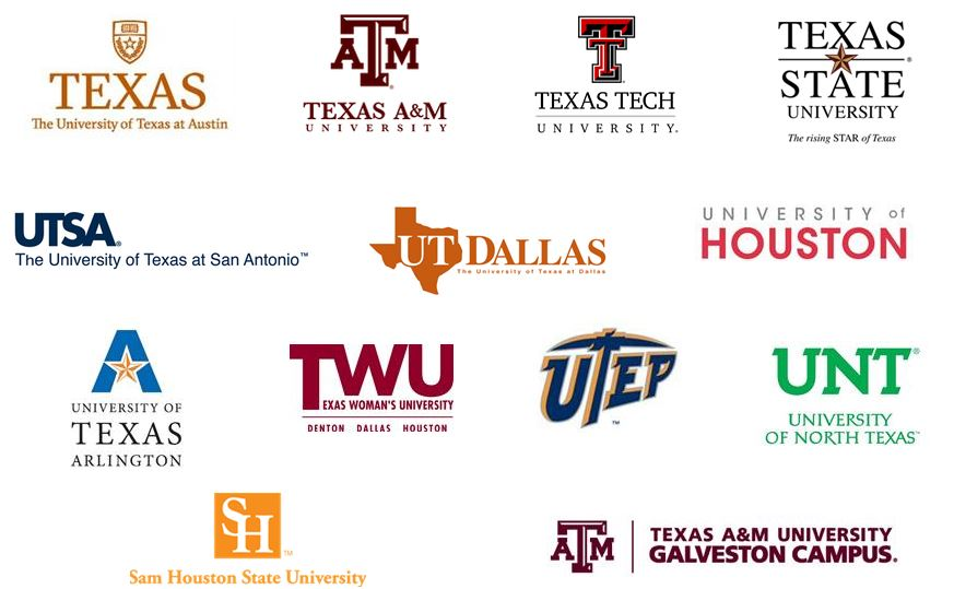 automatic admission requirements at texas universities brand  tx college logos