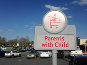 Special parking space sign for parents with children