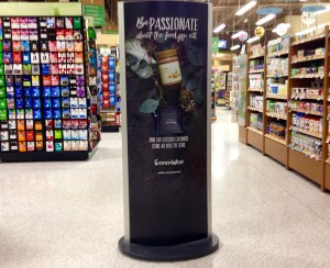 Kiosk promoting a private label product and line to promote the brand