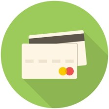Credit card icon (flat design with long shadows)