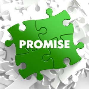 Promise on Green Puzzle on White Background.