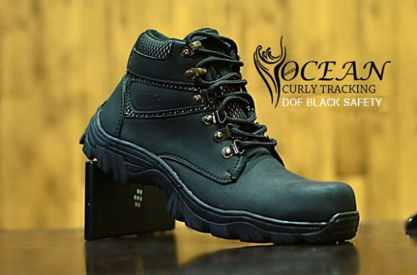 BO0350 Black Dof Ocean Curly Tracking Authentic Safety Boots - Rp. 220000