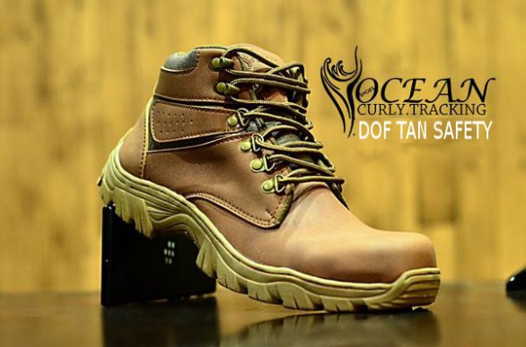 BO0351 Tan Dof Ocean Curly Tracking Authentic Safety Boots - Rp. 220000