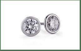 大顆鑽石的白金鑽石耳環
