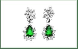祖母綠鑽石墜飾耳環 K18黃金