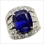 二手 Pt900 藍寶石 鑽戒