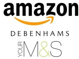Amazon, Debenhams and Marks and Spencer logos