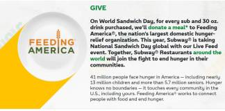 """Subway Launches """"Live Feed"""" in Food Donation Efforts"""