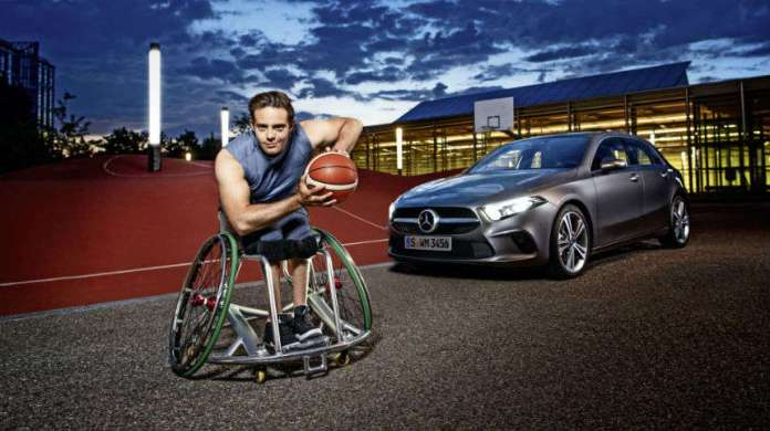 Wheelchair Basketball Professional and Mercedes-Benz Brand Ambassador Sebastian Magenheim with the new A-Class 2