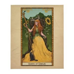 Tabletop Tarot – Queen of Wands 50″x60″ Throw Blanket