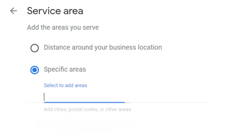 Set Up Google My Business Listing Step 4: Set Service Areas Screenshot