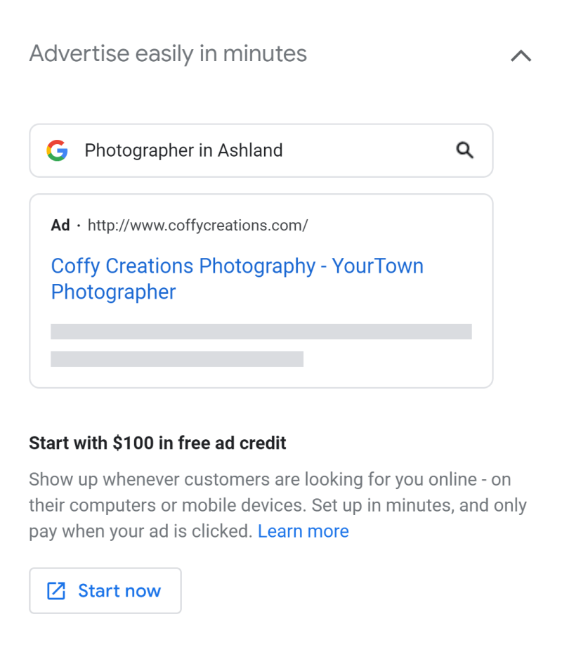 Google My Business Ads Discount Example