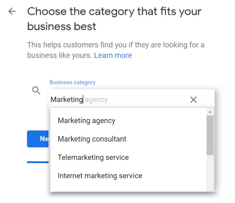 Set Up Google My Business Listing Step 5: Select Business Category