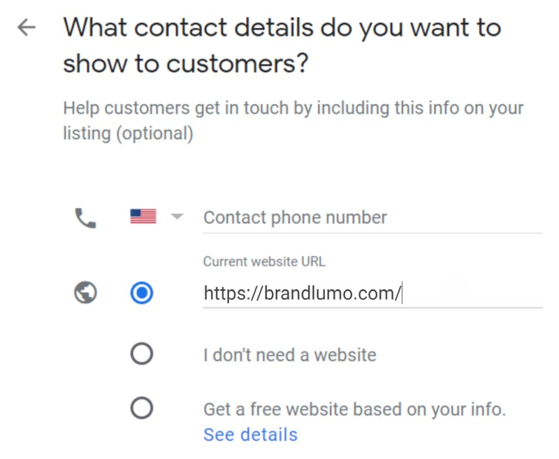 Set Up Google My Business Listing Step 6: Contact Details