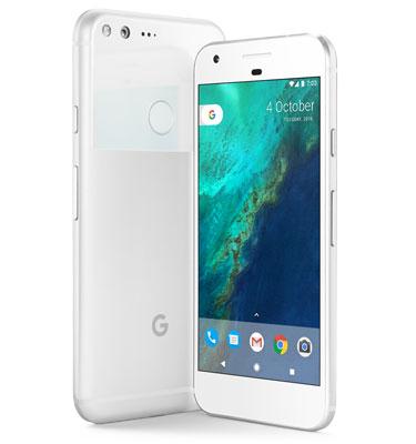 Google Pixel XL facing away, and Google Pixel facing toward