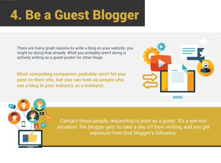 4. Be A Guest Blogger. There are many great reasons to write a blog on your website; you might be doing that already. What you probably aren't doing is actively writing as a guest poster for other blogs. Most competing companies probably won't let you post on their site, but you can look up people who run a blog in your industry as a hobbyist. Contact these people, requesting to post as a guest. It's a win-win situation: the blogger gets to take a day off from writing, and you get exposure from that blogger's followers.