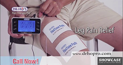 A screenshot from Dr-Ho's Pain Therapy System infomercial. And example of direct response marketing.