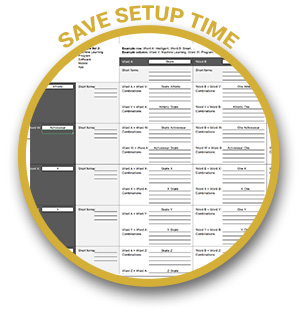 Save Setup Time. The Multiply Method excel sheet setup for the method already.