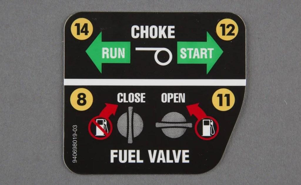 Fuel Choke Label