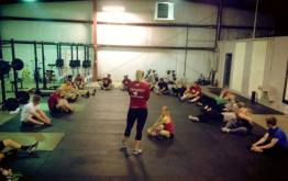 Vannah prepping everyone for Wod for Warriors