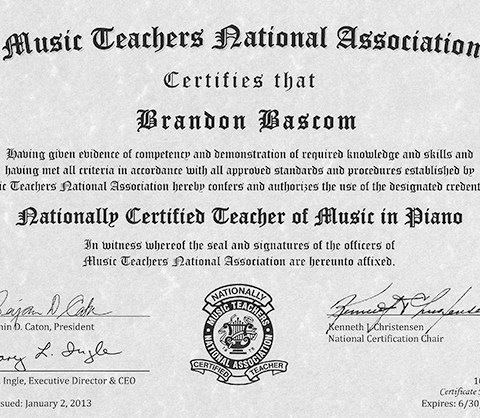 Brandon Bascom NCTM MTNA