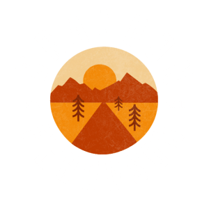 Brandon Ferguson logo, designed like a patch with backroad imagery going into the sunset in orange tones