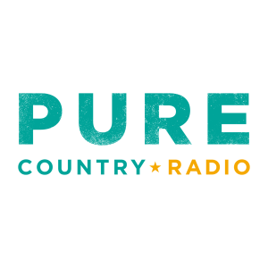 Pure Country and Radio wordmark, spelled out in turquoise and yellow lettering