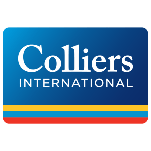 Colliers International logo, the wordmark in front of a blue square with yellow, blue, and red lines