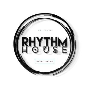 Rhythm House logo, a wordmark inside of double ring circle