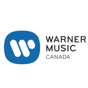 Warner Music Canada wordmark, beside a blue square with a white W inside