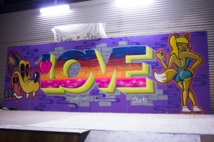 LOVE mural at Refshæløen Skate Park, 2016. Collaboration with Cheeky.