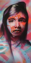 Each One Teach One (portrait of Malala Yousafzai) 2015. 50 x 100 cm. Spray paint on canvas.