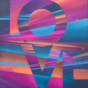 Painted Love: Untitled #5, 2015. 50 x 50 cm. Spray paint and acrylic on canvas.