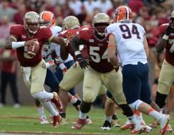 Jameis Winston avoiding the rush.