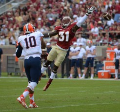 Terrence Brooks leaps for the ball