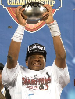 Jameis Winston holds the ACC Championship Trophy