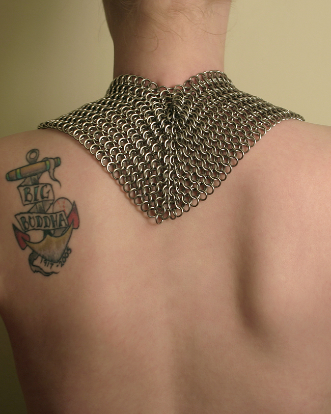chainmail_sculpture_chest_crank_spin_motion_copper_nickel_steel_back