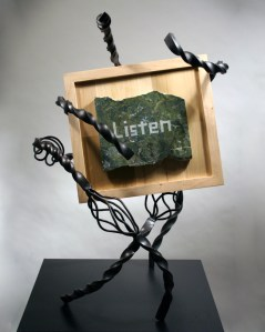 sculpture_listen_trust_family_green_marble_welded_forged_steel_front